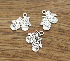 20 Mitten Charm Holiday Creation Christmas Charms Antique Silver Tone 15x16 1537