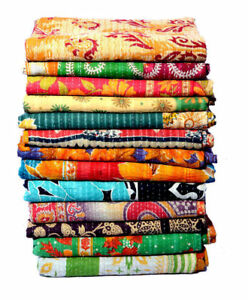 5 Pc Indian Vintage Cotton Kantha Quilt Handmade Bedspreads Boho Bedding Blanket
