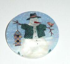 "Adorable Snowman w/ Birdhouse & Bird Mother of Pearl Shank Button 1+3/8"" MOP"