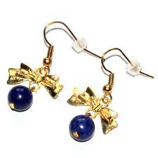 Boucles d'oreilles fantaisies couleur or noeud Lapis Lazuli bijou earring