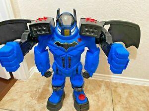 Large 2017 Mattel Playmobile Batman Blue BATBOT Imaginext w Figure Works
