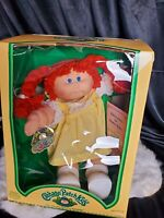 1980s Cabbage Patch Kids Doll Redhead Pigtails Yellow Dress Carrots blue eyes