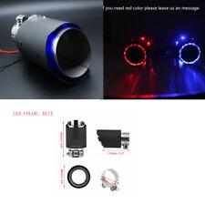 63mm Inlet Universal Carbon Fiber Car Exhaust Muffler Pipe Tip w/ Blue LED Light