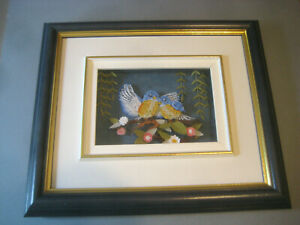 Paper QUILLING picture BLUEBIRDS Canadian Artist Lucien Souchereau Folk Art bird