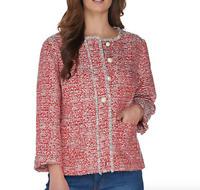 GRAVER Susan Graver Tweed Button Front Jacket - Coral Multi - Reg 8