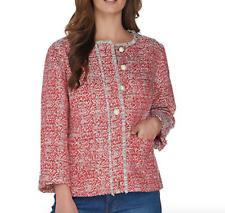 GRAVER Susan Graver Tweed Button Front Jacket - Coral Multi - Reg 16