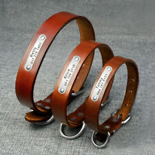Leather Dog Collar with Nameplate for Small Medium Large Breed Adjustable Brown