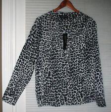 JONES NEW YORK  Navy Gray White Animal Print Button Down Shirt Size 12 NWT $79