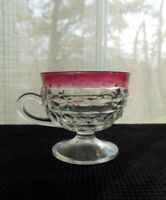 Indiana Colony Glass Clear Ruby Flash Band Whitehall 6 oz Footed Cup