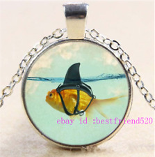 Necklace Goldfish Photo Tibet Silver Cabochon Glass Pendant Chain Necklace