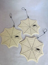 Halloween Spider Web Ornaments / decorations 3pc RO-384 Collins spiders NEW