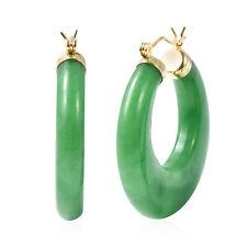 Chapado en Oro 14K de plata esterlina 925 Verde Jade Aros Aro Pendientes Regalo CT 73