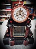 FRENCH 19TH CENTURY MARBLE MANTLE CLOCK Visible Escapement & Mercury Pendulum