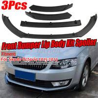 3PCs Matte Front Bumper Lip Body Spoiler Splitter For SKODA Octavia