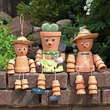 Bill & Ben Style 3 Flower Pot Men Gift Set Terracotta Hanging Garden Ornament