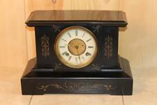Antique Iron New Haven Mantle Clock With Open Escapement