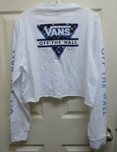 Vans Particulate XL Women's Crop LS Women T-Shirt White w/Graphics NWOT