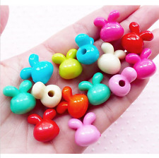 50pcs Acrylic Rabbit Beads 3D Bunny Charms 16mm Mix Cute Animal Jewelry Kawaii