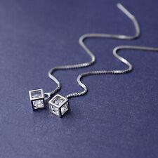 925 Sterling Silver Long Pull Through Threader Cube CZ Dangle Elegant Earrings