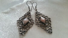 Vintage Native American Pink Mussel Shell Filigree Dangle Hook Earrings
