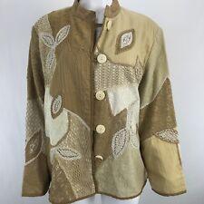Indigo Moon Womens Jacket 1X Plus Size Brown White Button Front BNWOT
