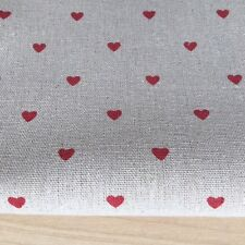 Red Heart on Linen Cotton Fabric. Price per 1/2 metre
