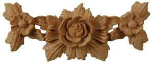 Victorian Furniture Swag Wood Onlay with Rosette. Hand Carved in Pinewood. PN780