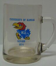 Old Vintage 1974 KU SENIOR KANSAS JAYHAWKS BASKETBALL FOOTBALL BEER MUG GLASS