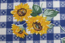 BLUE CAFE CHECK GINGHAM SUNFLOWER COUNTRY PRINT FABRIC SEW CRAFT DECOR HALF YDS