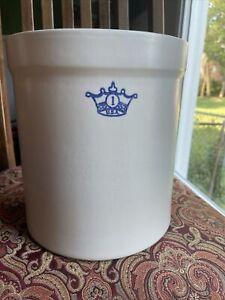 Vintage Blue Crown Stoneware Crock 1 Gallon Roseville Robinson Ransbottom USA