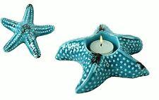 2 er Set Keramik SEESTERN Kerzen Teelicht Halter Bad Deko maritim blau aqua
