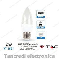 Lampadina led V-TAC 6W = 40W E27 VT-1821 a candela attacco grande smd VTAC