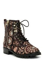 Alice + Olivia Tyrese Jacquard Lace Up Combat Boot Booties NWOT $495 Size 7