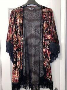 Worn Once Select Size 12 Oriental Velvet Fringed Short Kimono Red Gold Black