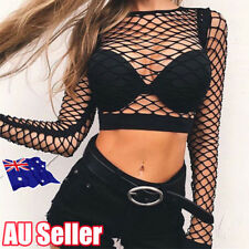 Fashion Womens Crop Top All Mesh Fishnet Long Sleeve Stretch Vest T Shirt BO