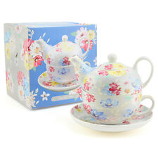 Tea Set For One Tea Pot & Cup Saucer Gift Box Blue Floral Blossom By Leonardo