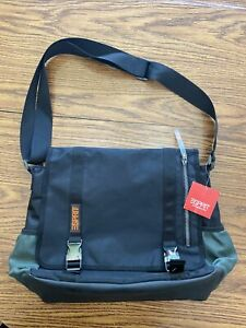 ESPRIT Messenger Bag Black / Green Canvas New With Tag