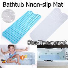 Extra Long Anti-Slip Washable Anti-Bacterial Shower Bathtub Mat Blue/Transparent