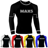 Max5 Full Sleeve MMA Rash Guard UFC Fight Training Gym Fitness Workout BJJ Shirt
