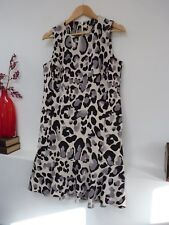 Ladies Fab Next Cream Black & Grey Leopard Print Knee Length Party Dress 10, Vvg