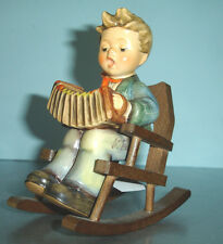 Hummel Goebel PRACTICE MAKES PERFECT 771 Boy w/Accordion+Rocking Chair Signed
