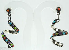"""Natural Multicolor Stones 925 Sterling Silver Curly Spiral Earrings 1-5/8"""" Long"""