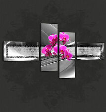PINK ORCHIDS ABSTRACT SPLIT CANVAS WALL ART PICTURES PRINTS FREE UK P&P
