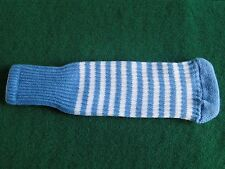 Knitted zebra style Fairway & Driver Golf Club head cover Light Blue / White