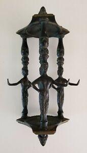 Faun Figurine Greek Cast Metal Hook Hanging Architectural Pendant Hardware Black