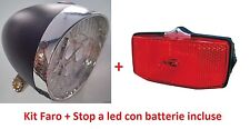 Kit a led Faro Nero + Stop port. con batterie per Bici 26-28 R Viaggio bacchetta