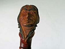 Antique Dartmouth College Autographed Hand Carved Indian Head Handle c1900's