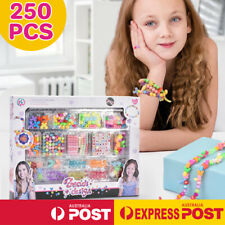 Kids DIY Beads Girls Plastic Pop Jewellery Necklace Bracelet Ring Toy Making Kit