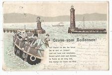 Gruß vom Bodensee, Lindau, Hafen, Leuchtturm, Menschen speien vom Boot, Litho-Ak
