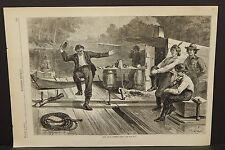 "Harper's Weekly Single pg. ""Life on a Lumber Raft"" 1873 B5#58"